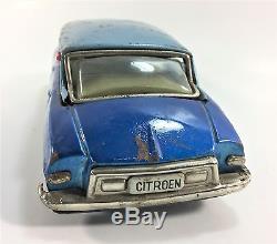 Vintage Bandai Friction Citroen DS19 Tin Toy Car Japan 1960s