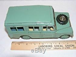 Vintage Bandai Japan 1957 Land Rover Avocado Green Friction Tin Toy Car