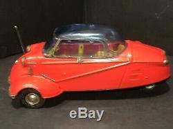 Vintage Bandai Japan 3 Wheel Messerschmitt Friction Bubble Tin Car Awesome