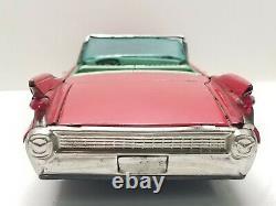 Vintage Bandai Tin Friction 1959 Convertible Cadillac Japan Toy Car 11