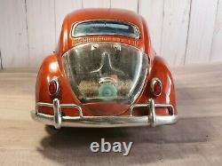 Vintage Bandai Volkswagon Beetle Tin Battery Operated 15 Toy Car Working Lights