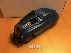 Vintage Blue Schuco Kommando 2000 Tin Wind Up Car Germany with Key