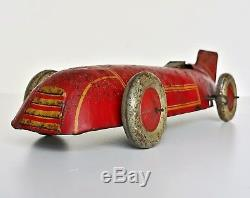 Vintage Burnett Chad Valley Tinplate Tin Toy Clockwork Racing Race Car England