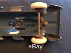 Vintage Cast Iron Hubley V-8 Enclosed Race Car, Blue, 7.5, White Rubber Tires