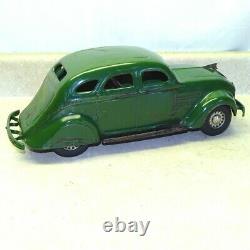 Vintage Cor Cor Toys Sedan Car, Chrysler Airflow, Pressed Steel Toy, Green