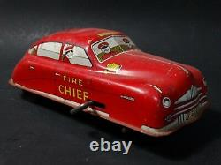 Vintage Courtland Fire Chief Car Tin Litho Key Wind Friction Toy All Red Version