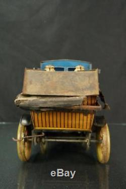 Vintage Fischer German Made Tin Wind Up Taxi Limousine Toy Car Antique As Is