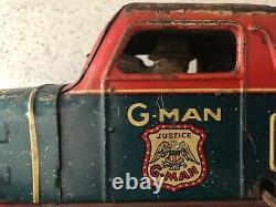 Vintage G-MAN PURSUIT CAR Marx 1930's Tin Litho Metal Wind-up Friction afc