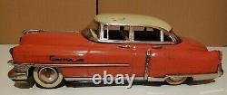 Vintage GAMA 300 Friction Car Tin Toy Cadillac Western Germany Rare Orange