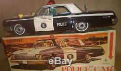 Vintage Ichiko Chevrolet 4-doors hardtop police car 37 cm. In Box