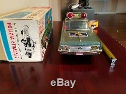 Vintage Ichiko Tin Buick Police Car Battery OP Made In Japan In Box Tin Toy Lot