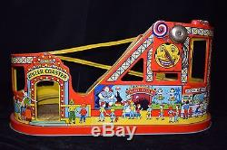 Vintage J Chein 1950's Tin Litho Windup Roller Coaster Toy Car Antique Early USA