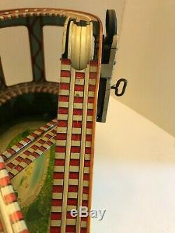 Vintage J. Chein Roller Coaster With One Car Wind Up Tin Toy Works