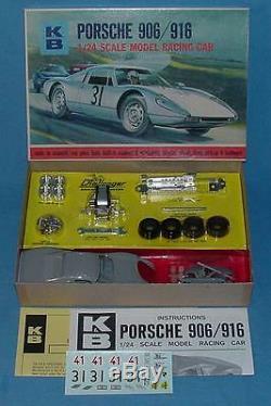 Vintage K&b 124 Scale Mib Porsche 906/916 Slot Car Model Racing Kit #1802