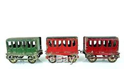 Vintage Late 1800's French Tin Floor Train 8 Car Set 29 Long