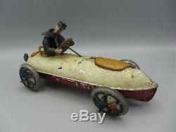 Vintage Lehmann UHU Amphibian Auto Tin Wind Up Race Car / Approx. 10 Length