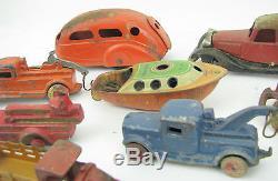 Vintage Lot Cast Iron Toys Cars Trucks Plane Hubley Arcade NR