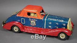 Vintage MARX Tin Toy G-Man Pursuit Wind Up Car Runs