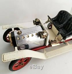 Vintage Mamod Steam Engine Model Car Large 15 Brass Steel Cream Color