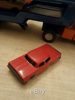 Vintage Marx Auto Transport Toy Truck with Friction Cars
