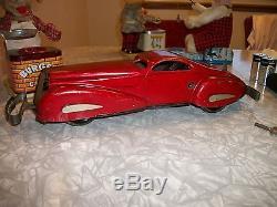 Vintage Marx Pressed Steel Large Reversible Coupe Wind Up Car