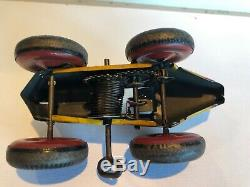 Vintage Marx Tin Wind Up Race Car No. 5 Works Great