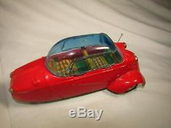 Vintage Messerschmitt Tin Car Friction Red Made In Japan By Bandai Very Rare EUC