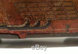 Vintage Mettoy Tail boat Racer lithograph tin clockwork car toy, 1930's-WORKS