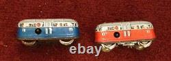 Vintage Ohio Art Tin Litho Alpine Station With 2 Technofix Tram Cars