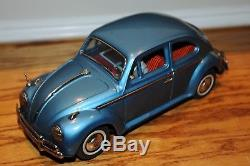 Vintage Old BANDAI Tin Toy Car VW VOLKSWAGEN Battery Operated With Driver Bandai