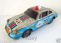 Vintage Old TPS Mark Battery Operate Martini Racing 20 Porsche Car Tin Toy Japan