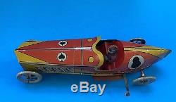 Vintage Penny Tin Toy Race Car Driver. Made By INGAP. Italy. 1920s. Windup Wks