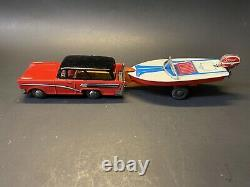 Vintage RARE NOS 1950s Haji Station Wagon with Boat Trailer Tin Toy Car with Box