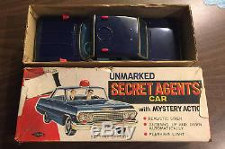 Vintage Rare Chevrolet Unmarked Secret Agents Tin Litho Car Boxed Made In Japan