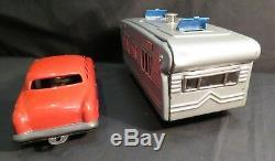 Vintage Red Friction Car with Silver Camper Trailer, Japan