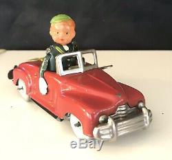 Vintage Red Occupied Japan Tin Convertible Signal Car Celluloid Head Wind Up Toy