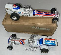 Vintage Roxy Toys Army Navy Pull String Drag Racing Cars withBox Hong Kong