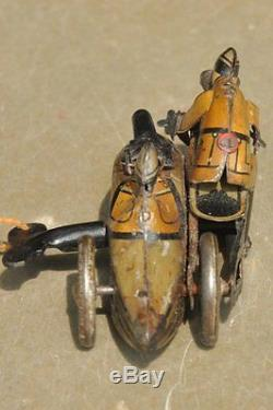 Vintage Small Litho Police Fire Sparkle Side Car Motorcycle Tin Toy, Germany
