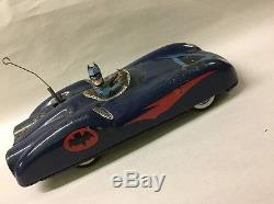 Vintage Tin Alps Batmobile Friction Toy Sports Car Japan 60's Rare