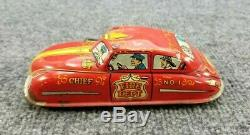 Vintage Tin Litho Marx Wind Up Fire Chief Car Works