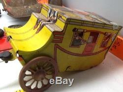 Vintage Tin Litho Metal Toys JUNK YARD Lot PARTS Cars Trucks Stagecoach Restore