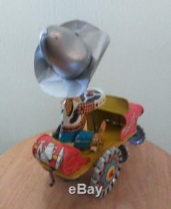 Vintage Tin Litho Wind Up 1940's Toy Car Jeep COWBOY Unique Art Rodeo Joe