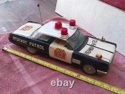 Vintage Tin Toy Car. Battery Operated Bump'N'Go (15 Inch) Police Buick. Works