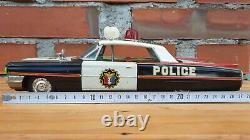 Vintage Tin Toy Ichiko Cadillac Friction Police Car Vehicle Made in Japan