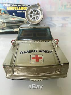 Vintage Tin Toy Masudaya MT Modern Toys Ambulance Ford Car Crank Siren Japan BOX