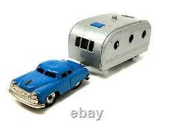 Vintage Toy Car Hauling Camper Trailer, Vintage, Tin, Japan