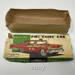 Vintage Toymaster Ford Fire Chief Tin Metal Friction toy car Retro made in Japan