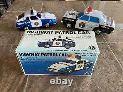 Vintage Trade Mark Modern Toys Tin Litho Battery Operated Highway Patrol Cars