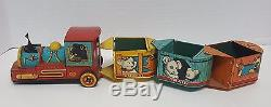 Vintage Trademark Modern Toys Train Battery Powered with Pull Cars
