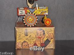 Vintage US Made Marx Milton Berle Car Tin Wind Up Toy WithOriginal Box, Excellent